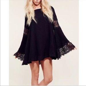 For Love and Lemons black rayon bell sleeve dress